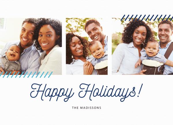 simple blue happy holidays script photo card