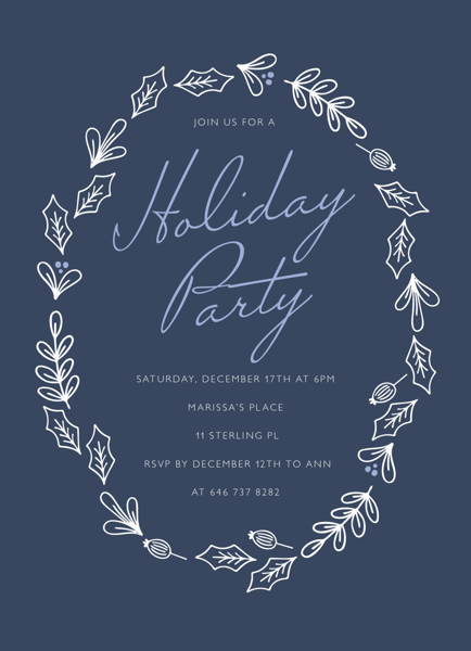 Blue Winter Wreath Party