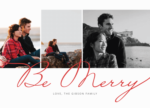 red scripted be merry multi photo christmas card