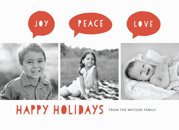 multi photo holiday card with blocked letters and thought bubbles