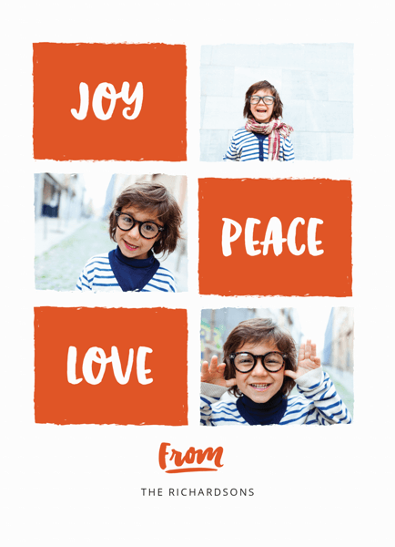 red joy peace love holiday card with photo