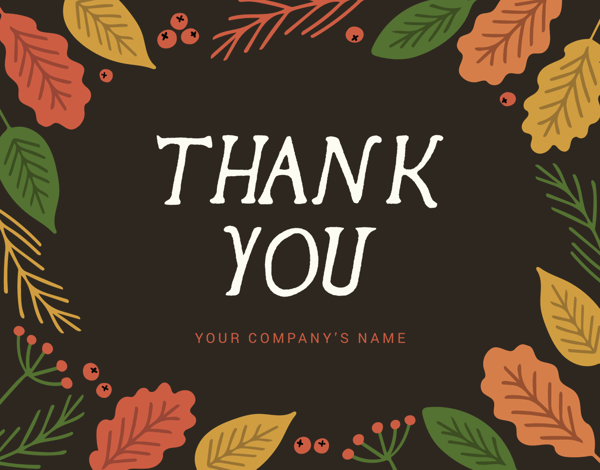 fall themed business thank you note