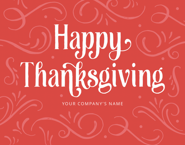 red happy thanksgiving business greeting card
