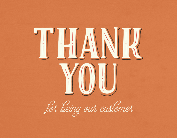 thank you for being our customers greeting card