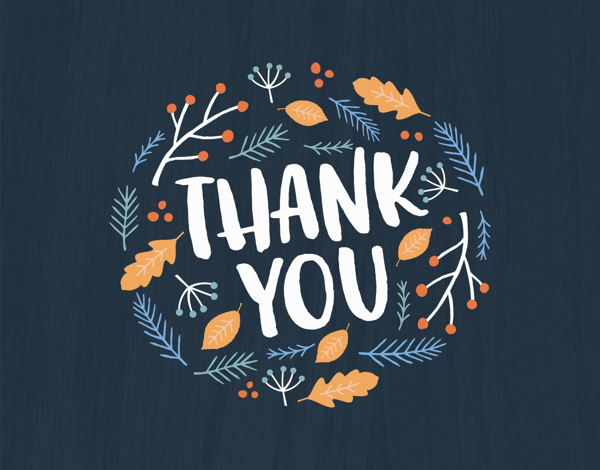 fall themed thank you greeting card