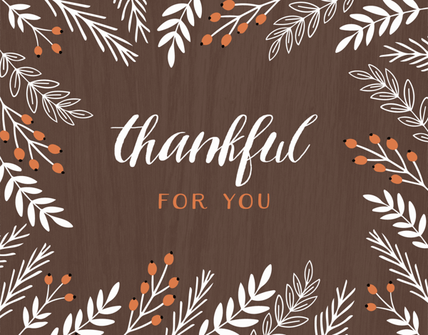 thankful for you greeting card with branches