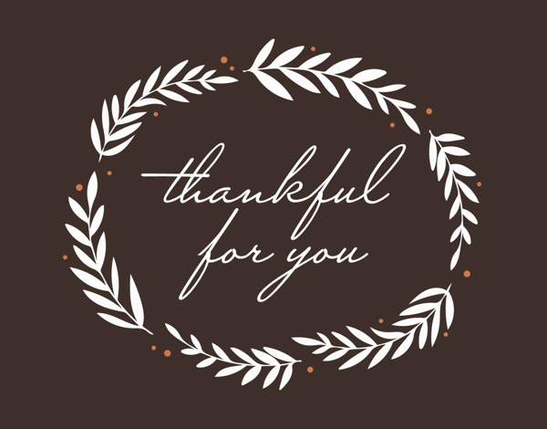 thankful for you business greeting card