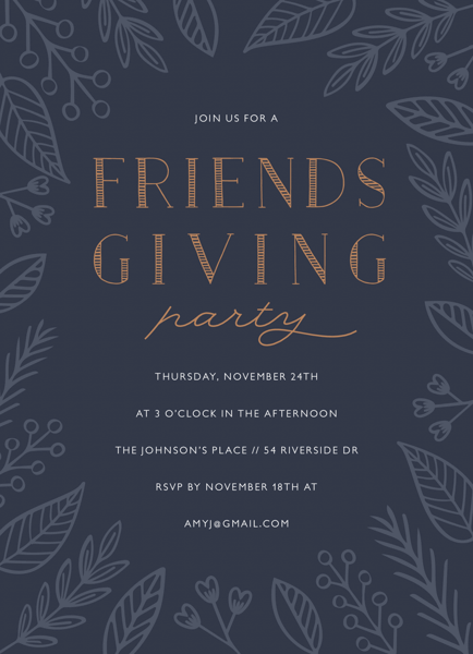 Blue Floral Friendsgiving Invite