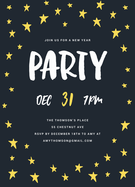 Starry Night Party Invite