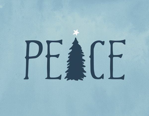 a blue christmas card with peace and a christmas tree