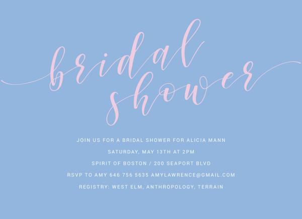 Bridal Shower Caligraphy