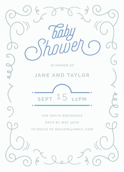 Blue Script Baby Shower