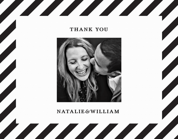 Black and White Striped Thank You Card