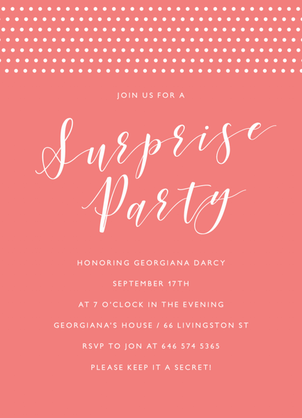 Surprise Party Thoughts