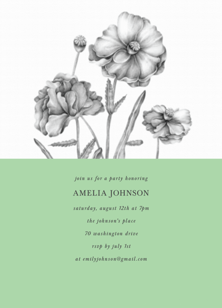 Poppy Party Invite