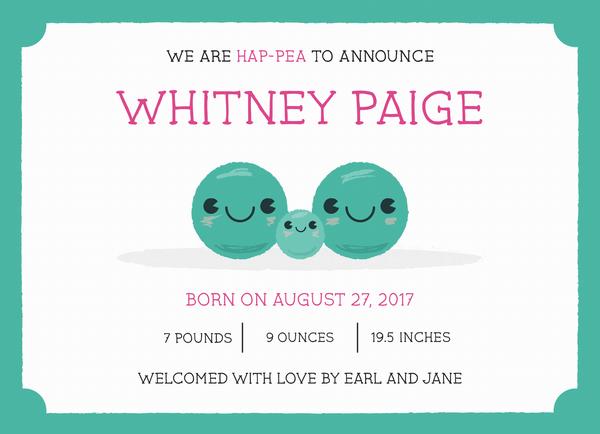 Pea Birth Announcement