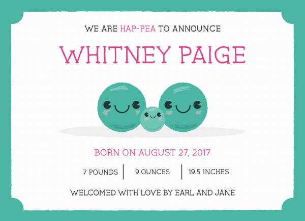 Pea Birth Announcement