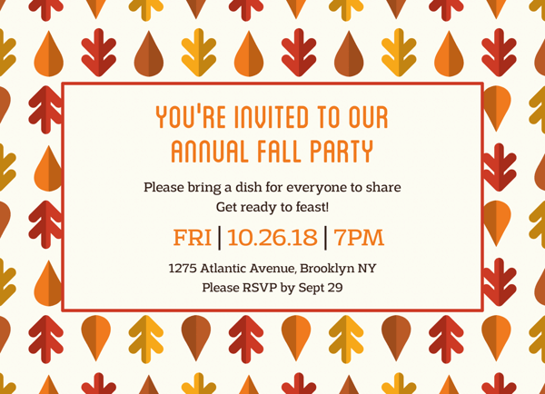Fall Leaves Party Invitation