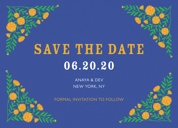 Blue Floral Save The Date