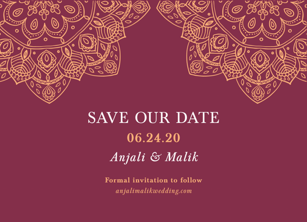 Burgundy Henna Save The Date