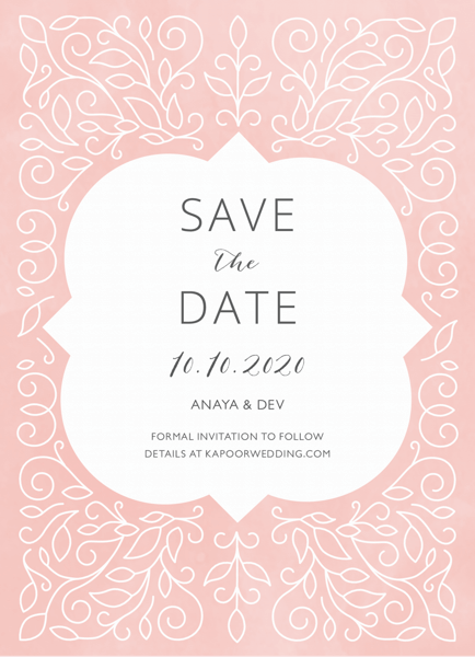 Blush Ornament Save The Date