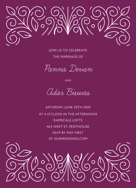 Purple Ornament Invitation