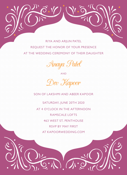 Ornamental Fuchsia Invitation