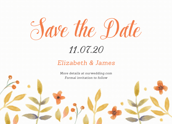 Watercolor Florals Save The Date