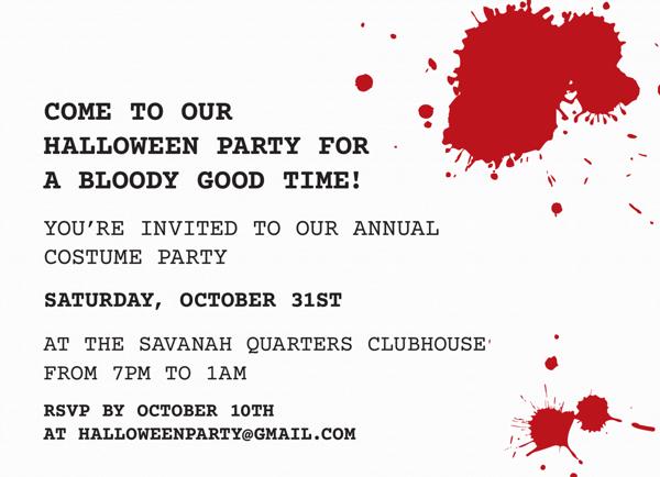 Bloody Halloween Party Invitation