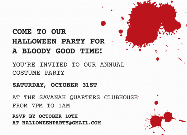 Bloody Halloween Party Invitation