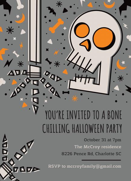 Skeleton Halloween Party Invitation
