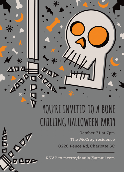 Skeleton Halloween Party Invitation