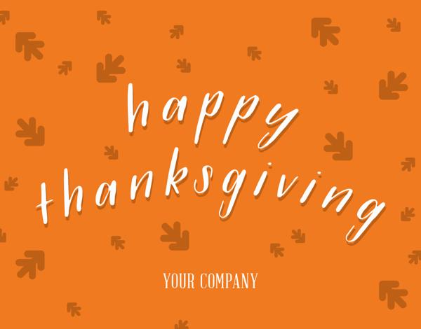 cursive business thanksgiving greeting card