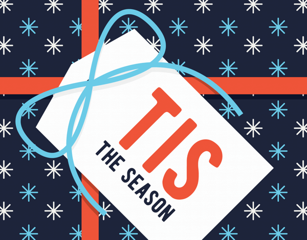 tis the season greeting card with gift tag illustration
