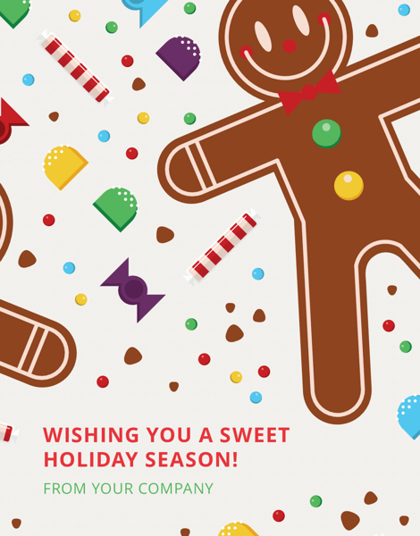 fun company holiday card with candy and gingerbread man