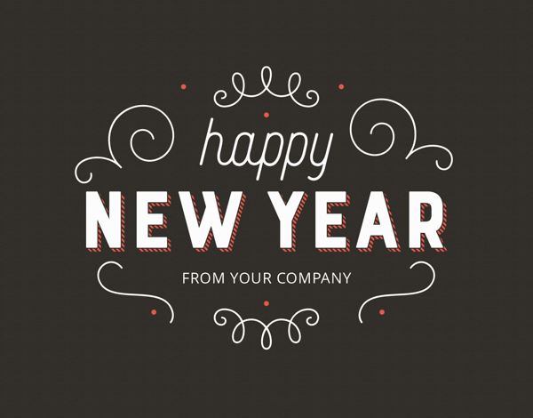 ornate happy new years business greeting card