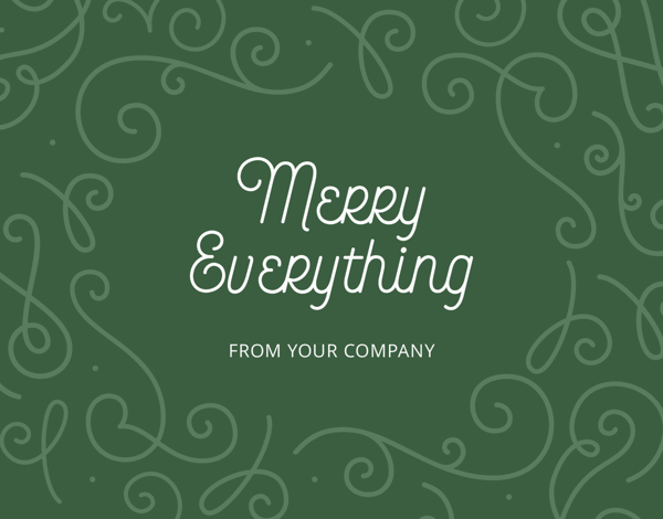 green merry everything business holiday card