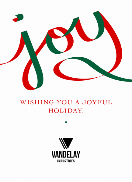 red and green business holiday postcard