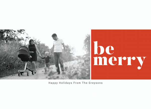 modern bold red be merry card with photo