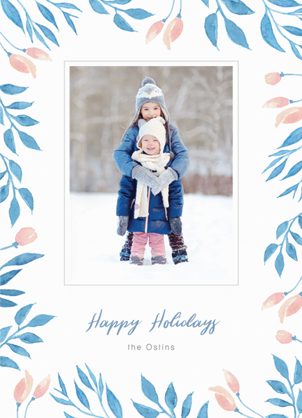classic single photo holiday card framed with leaves