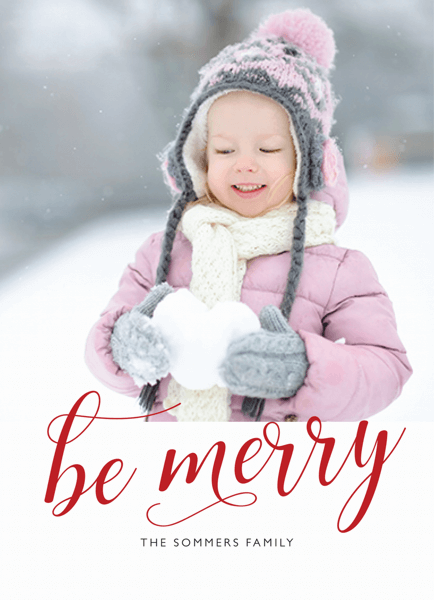 be-merry-red-script-photo-card