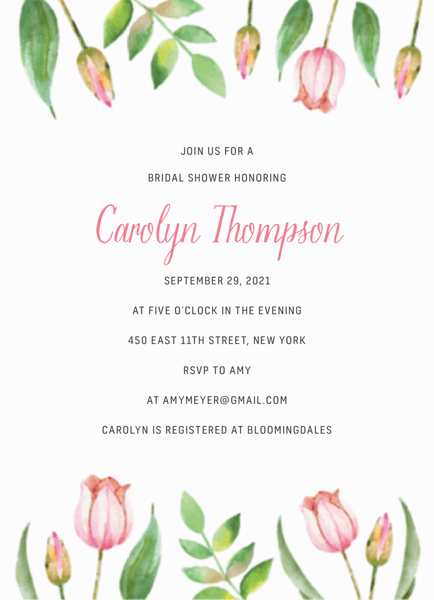 Watercolor Tulips Bridal Shower