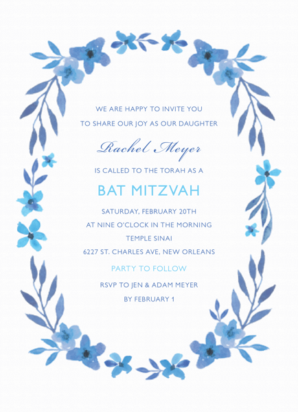 Blue Floral Wreath Bat Mitzvah