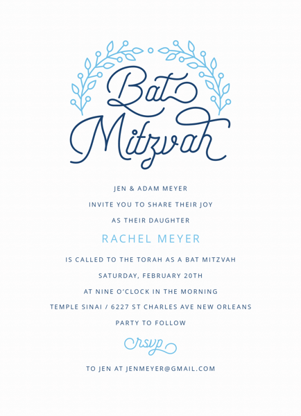 Floral Outline Bat Mitzvah