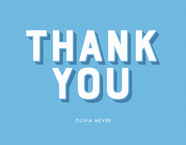Bold Lettering Thank You Dark Blue