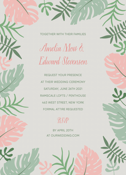 Tropical Leaves Invite