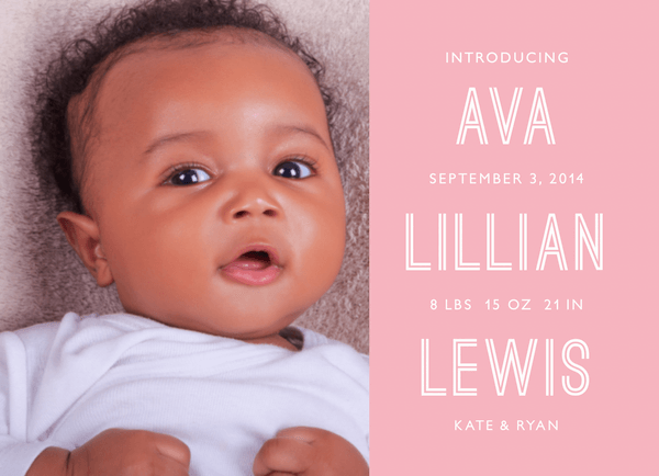 Stacked Pink Girl Birth Announcement
