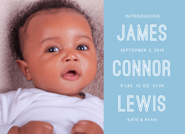 Stacked Name Blue Birth Announcement