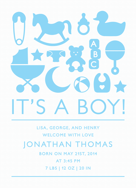 Boy Icons Birth Announcement