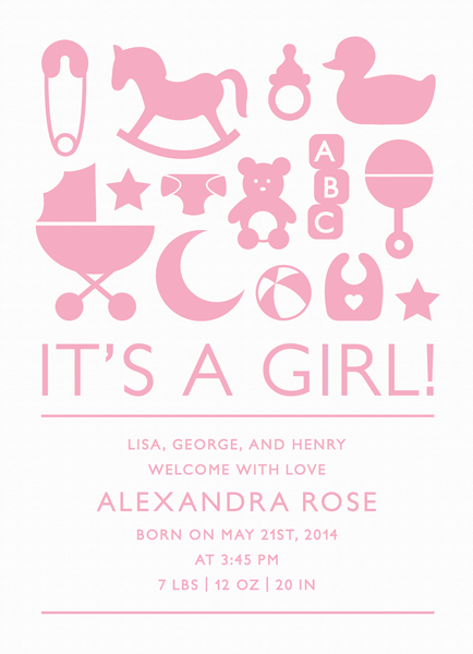 Pink Toys Birth Announcement